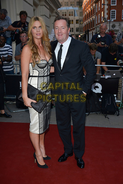 Celia Walden, Piers Morgan<br /> GQ Men of the Year Awards 2013 at the Royal Opera House, London, England.<br /> September 3rd, 2013<br /> full length grey gray corset strapless clutch bag dress black suit married husband wife<br /> CAP/PL<br /> &copy;Phil Loftus/Capital Pictures