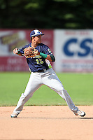 Vermont Lake Monsters shortstop Yairo Munoz (15) throws to first during a game against the Jamestown Jammers on July 13, 2014 at Russell Diethrick Park in Jamestown, New York.  Jamestown defeated Vermont 6-2.  (Mike Janes/Four Seam Images)