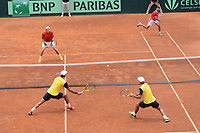 MEDELLIN - COLOMBIA - 08 - 04 - 2017: Juan Sebastian Cabal y Robert Farah de Colombia durante partido de dobles contra Jarry y Hans Podlipnik de Chile, de la serie final de partidos en el Grupo I de la Zona Americana de la Copa Davis, partidos entre Colombia y Chile, en Country Club Ejecutivos de la ciudad de Medellin. / Juan Sebastian Cabal and Robert Farah of Colombia during a match of doubles agianst Nicolas Jarry and Hans Podlipnik of Chile, to the final series of matches in Group I of the American Zone Davis Cup, match between Colombia and Chile, at the Country Club Executives in Medellin city. Photo: VizzorImage / Leon Monsalve / Cont.