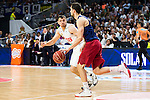 Real Madrid's player Maciulis and Barcelona's player Satoransky during Liga Endesa 2015/2016 Finals 4th leg match at Barclaycard Center in Madrid. June 20, 2016. (ALTERPHOTOS/BorjaB.Hojas)