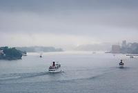 Fartyg i dis Stockholms inlopp vid Djurgården