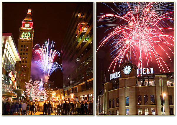 New Years Eve (left) and July 4th fireworks (right), Denver, Colorado. .  John offers private photo tours in Denver, Boulder and throughout Colorado. Year-round Colorado photo tours. .  John offers private photo tours in Denver, Boulder and throughout Colorado. Year-round.