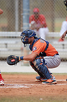 Houston Astros Oscar Campos (9) during a Minor League Spring Training game against the St. Louis Cardinals on March 27, 2018 at the Roger Dean Stadium Complex in Jupiter, Florida.  (Mike Janes/Four Seam Images)