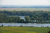 USA, Nebraska, Omaha Reservation, Omaha Iland at Missouri river , view to corn and soybean fields in Iowa