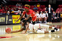College Park, MD - March 23, 2019: Maryland Terrapins guard Channise Lewis (3) and Radford Highlanders guard Destinee Walker (10) fight for a loose ball during first round action of game between Radford and Maryland at Xfinity Center in College Park, MD. Maryland defeated Radford 73-51. (Photo by Phil Peters/Media Images International)