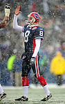 3 January 2010: Buffalo Bills' punter and kick holder Brian Moorman celebrates a field goal during a game against the Indianapolis Colts on a cold, snowy, final game of the season at Ralph Wilson Stadium in Orchard Park, New York. The Bills defeated the Colts 30-7. Mandatory Credit: Ed Wolfstein Photo