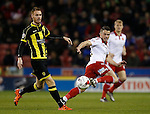 Florent Cuvelier of Sheffield Utd tussles with Tom Naylor of Burton Albion - English League One - Sheffield Utd vs Burton Albion - Bramall Lane Stadium - Sheffield - England - 1st March 2016 - Pic Simon Bellis/Sportimage
