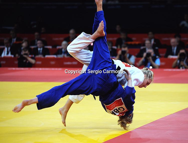 Olympic Games 2012; Judo - ExCel North Arena 2; women's 57kg. Sarah Clark (GBR) vs. Automne Pavia (FRA).
