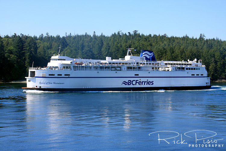 The BC Ferries Queen of New Westminster in Active Pass. Active Pass is on the ferry route between Tswassen on the mainland and Swartz Bay on Vancouver Island in British Columbia.