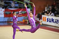 November 8, 2008; Durango, Spain (near Bilbao); Rhythmic gymnast Alina Maximenko performs with Ukraine senior group to take 2nd place at 2008 Euskalgym International..