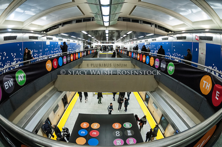 New York, USA 1 January 2017 - After nearly a century the Second Avenue Subway finally opened to the public on New Years Day. Three new stations, at 72nd, 86th and 96th streets, plus an extension at East 63rd were added to the BMT and cost 4.4 billion dollars. The new state of the art subway line runs along BMT lines to Brighton Beach, Brooklyn. ©Stacy Walsh Rosenstock