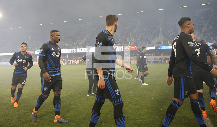 San Jose, CA - Saturday March 03, 2018: San Jose Earthquakes during a 2018 Major League Soccer (MLS) match between the San Jose Earthquakes and Minnesota United FC at Avaya Stadium.