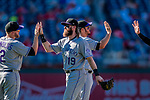 30 July 2017: Colorado Rockies outfielder Charlie Blackmon celebrates a win over the Washington Nationals at Nationals Park in Washington, DC. The Rockies defeated the Nationals 10-6 in the second game of their 3-game weekend series. Mandatory Credit: Ed Wolfstein Photo *** RAW (NEF) Image File Available ***