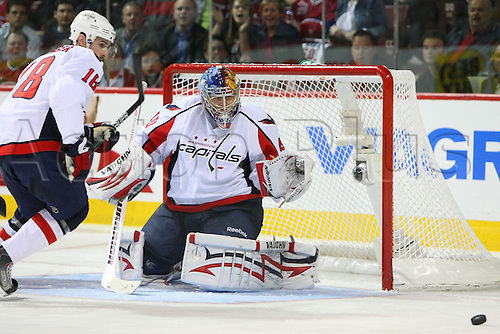 26 APRIL 2010: Washington Capitals' goalie Semyon Varlamov in action during the second period of the Eastern Conference Quarter Final's Game 6 against Montreal Canadiens at the Bell Centre in Montreal, Quebec,  Canada. Montreal Canadiens won 4-1 over Washington Capitals.