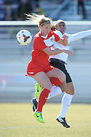 Boyds, Maryland - March 15, 2014. Cecilie Sandvej heads the ball against Megan Morris of the Washington Spirit. The Washington Spirit during the Meet the Team at the Maryland SoccerPlex.