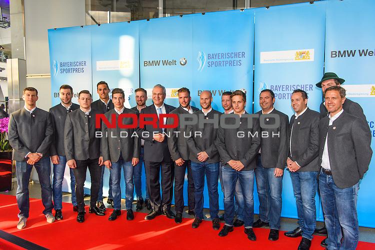 16.07.2016, BMW Welt, Muenchen, GER, Bayerische Sportpreis 2016, im Bild Johannes Hermann mit dem EHC Red Bull M&uuml;nchen<br /> <br />  Foto &copy; nordphoto / Straubmeier