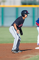 AZL Indians 1 center fielder Steven Kwan (7) takes his lead off second base during an Arizona League game against the AZL Cubs 1 at Sloan Park on August 27, 2018 in Mesa, Arizona. The AZL Cubs 1 defeated the AZL Indians 1 by a score of 3-2. (Zachary Lucy/Four Seam Images)