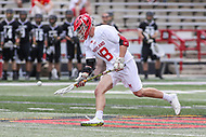 College Park, MD - May 14, 2017: Maryland Terrapins Austin Henningsen (18) get the ball during the NCAA first round game between Bryant and Maryland at  Capital One Field at Maryland Stadium in College Park, MD.  (Photo by Elliott Brown/Media Images International)