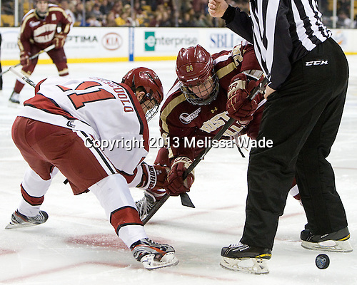 Kyle Criscuolo (Harvard - 11), Bill Arnold (BC - 24) - The Boston College Eagles defeated the Harvard University Crimson 4-1 in the opening round of the 2013 Beanpot tournament on Monday, February 4, 2013, at TD Garden in Boston, Massachusetts.