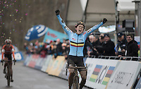 Sanne Cant (BEL) becomes the 2017 Women's UCI CX World Champion<br /> <br /> Women's Race<br /> UCI 2017 Cyclocross World Championships<br /> <br /> january 2017, Bieles/Luxemburg