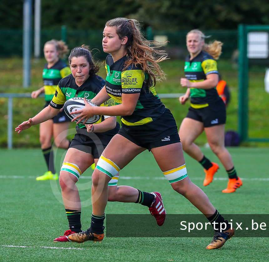 20190928 - Neder Over Hembeek, BELGIUM : Dendermonde's players are pictured during the female rugby match between the Dendermonde RC Women  and AAC Amsterdam Rugby Women, this is the final of the BeNeCup  on Saturday 28th September 2019 at the Nelson Mandela Stadium , Belgium. PHOTO SPORTPIX.BE | SEVIL OKTEM