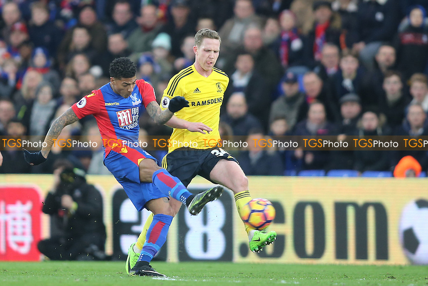 Patrick van Aanholt of Crystal Palace scores the opening goal during Crystal Palace vs Middlesbrough, Premier League Football at Selhurst Park on 25th February 2017