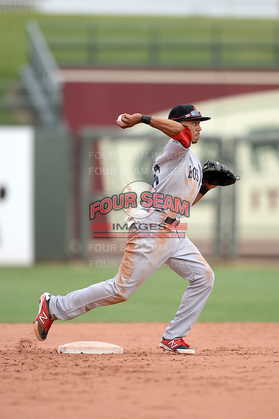Surprise Scorpions second baseman Mookie Betts (16), of the Boston Red Sox organization, during an Arizona Fall League game against the Peoria Javelinas on October 9, 2013 at Scottsdale Stadium in Scottsdale, Arizona.  Surprise defeated Peoria 9-5.  (Mike Janes/Four Seam Images)