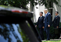 US President Donald Trump (2-R)  walks  with Kim Yong Chol (L), former North Korean military intelligence chief and one of leader Kim Jong Un's closest aides, outside the  Oval Office of the White House in Washington on Friday, June 1, 2018. <br /> CAP/MPI/RS<br /> &copy;RS/MPI/Capital Pictures