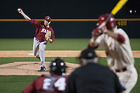 Alabama Crimson Tide pitcher Spencer Turnbull (32) pitching at Baum Stadium during the NCAA baseball game against the Arkansas Razorbacks on March 21, 2014 in Fayetteville, Arkansas.  The Alabama Crimson Tide defeated the Arkansas Razorbacks 17-9.  (William Purnell/Four Seam Images)