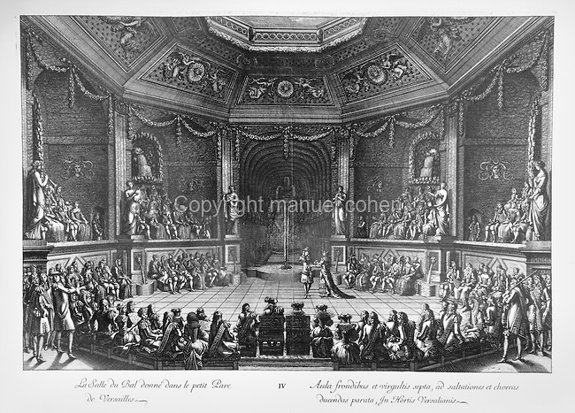 Royal ball in the Salle du Bal in the Petit Parc in the gardens of the Palace of Versailles, copper engraving, 1676, by Jean Le Pautre, 1618ñ82, French engraver. Copyright © Collection Particuliere Tropmi / Manuel Cohen