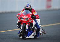 Jul. 16, 2010; Sonoma, CA, USA; NHRA pro stock motorcycle rider Hector Arana during qualifying for the Fram Autolite Nationals at Infineon Raceway. Mandatory Credit: Mark J. Rebilas-