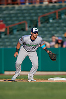 Vermont Lake Monsters first baseman Aaron Arruda (27) during a game against the Tri-City ValleyCats on June 16, 2018 at Joseph L. Bruno Stadium in Troy, New York.  Vermont defeated Tri-City 6-2.  (Mike Janes/Four Seam Images)