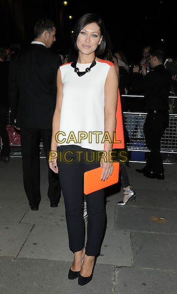 Emma Willis.Cosmopolitan Ultimate Women Of The Year Awards held at the Victoria and Albert Museum (V&A), London, England..October 30th, 2012.full length   top trousers clutch bag black gold necklace white orange .CAP/CAN.©Can Nguyen/Capital Pictures.