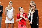 Simona Halep, Roumania, celebrates the victory in the Madrid Open Tennis 2016 Final match in presence of Slovakia's Dominika Cibulkova, Finalist .May, 7, 2016.(ALTERPHOTOS/Acero)a
