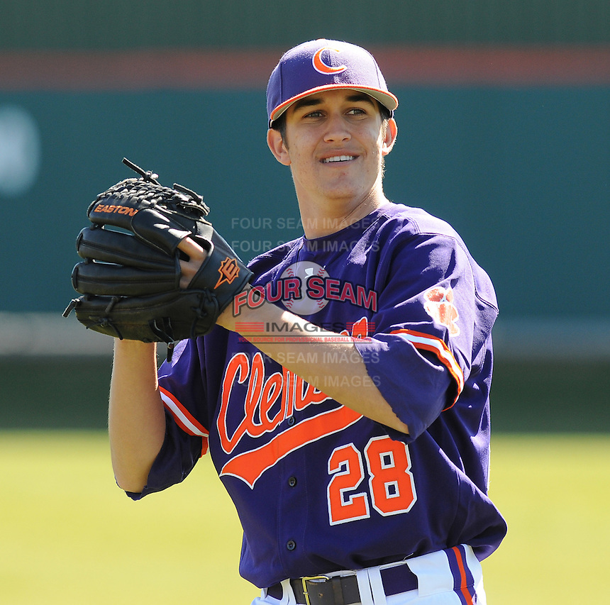 RHP Jonathan Meyer (28) of the Clemson Tigers prior to a game against the Wright State Raiders Saturday, Feb. 27, 2011, at Doug Kingsmore Stadium in Clemson, S.C. Photo by: Tom Priddy/Four Seam Images