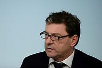 Roma, 24 Luglio 2018<br /> Giancarlo Giorgetti<br /> Conferenza stampa a Palazzo Chigi al termine del Consiglio dei Ministri, Decreto Mille Proroghe