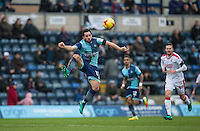 Sam Wood of Wycombe Wanderers controls the ball during the Sky Bet League 2 match between Wycombe Wanderers and Crawley Town at Adams Park, High Wycombe, England on 25 February 2017. Photo by Andy Rowland / PRiME Media Images.