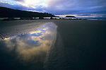 The sky is reflected in a tidepool along the wilderness coast of Olympic National Park, Washington.