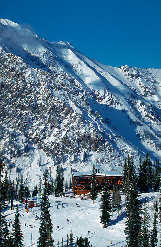The exterior of the Mid-gad mid Mountain Restaurant at Snowbird Ski Resort. Utah.