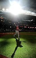 Jun. 4, 2011; Phoenix, AZ, USA; Washington Nationals shortstop Ian Desmond warms up prior to the game against the Arizona Diamondbacks at Chase Field. Mandatory Credit: Mark J. Rebilas-