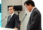 October 20, 2016, Tokyo, Japan - Nissan Motor chairman Carlos Ghosn (L) and Mitsubishi Motors president Osamu Masuko announce Mitsubishi joins Renault-Nissan alliance  at a press conference in Tokyo on Thursday, October 20, 2016. Ghosn will become chaiman of Mitsubishi Motors and Masuko will stay current position.   (Photo by Yoshio Tsunoda/AFLO) LWX -ytd-