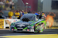 Sept. 28, 2012; Madison, IL, USA: NHRA funny car driver Alexis DeJoria during qualifying for the Midwest Nationals at Gateway Motorsports Park. Mandatory Credit: Mark J. Rebilas-