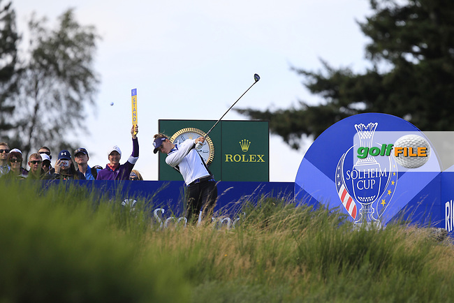 Anna Van Dam Team Europe on the 8th tee during Day 1 Fourball at the Solheim Cup 2019, Gleneagles Golf CLub, Auchterarder, Perthshire, Scotland. 13/09/2019.<br /> Picture Thos Caffrey / Golffile.ie<br /> <br /> All photo usage must carry mandatory copyright credit (© Golffile | Thos Caffrey)