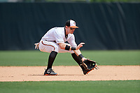 Bowie Baysox second baseman Chris Clare (9) fields a ground ball during an Eastern League game against the Akron RubberDucks on May 30, 2019 at Prince George's Stadium in Bowie, Maryland.  Akron defeated Bowie 9-5.  (Mike Janes/Four Seam Images)