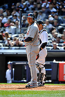 Apr 03, 2011; Bronx, NY, USA; Detroit Tigers infielder Jhonny Peralta (27) during game against the New York Yankees at Yankee Stadium. Tigers defeated the Yankees 10-7. Mandatory Credit: Tomasso De Rosa