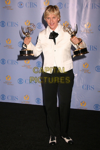 ELLEN DEGENERES.34th Annual Daytime Emmy Awards - Press Room at the Kodak Theatre, Hollywood, California, USA, 15th June 2007..full length black and white suit jacket cream tie scarf  trophies.CAP/ADM/BP.©Byron Purvis/AdMedia/Capital Pictures.