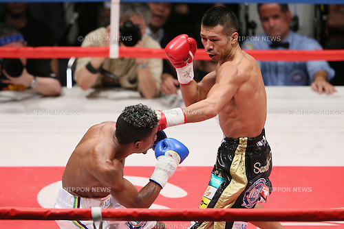 (L to R) Jeider Parra (VEN),  Takashi Uchiyama (JPN), MAY 6, 2013 - Boxing : Takashi Uchiyama of Japan hits against Jeider Parra of Venezuela during the WBA Super Feather weight title bout at Ota-City General Gymnasium, Tokyo, Japan. Takashi Uchiyama won by KO after 5th rounds. (Photo by Yusuke Nakanishi/AFLO SPORT)