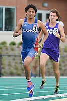 Brandon Bernal of Kansas and Dillon Smith of TCU compete in 1500 Meter final during Baylor Invitational track meet, Friday, April 03, 2015 in Waco, Tex. (Mo Khursheed/TFV Media via AP Images)