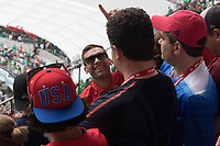 MEXICO CITY, MEXICO - June 11, 2017: Former USA soccer player Jimmy Conrad acknowledges his name being called out by USA fans before the World Cup Qualifier match against Mexico at Azteca Stadium.