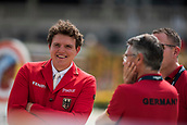 28th September 2017, Real Club de Polo de Barcelona, Barcelona, Spain; Longines FEI Nations Cup, Jumping Final; Andreas KREUZER (GER) discuss things before the first round of Nations Cup Final